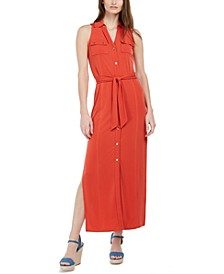 Tie-Waist Sleeveless Shirtdress, Regular & Petite
