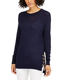 Lace-Up Sweater, Available in Regular and Petites