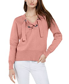 Cotton Lace-Up Sweater, Regular & Petite