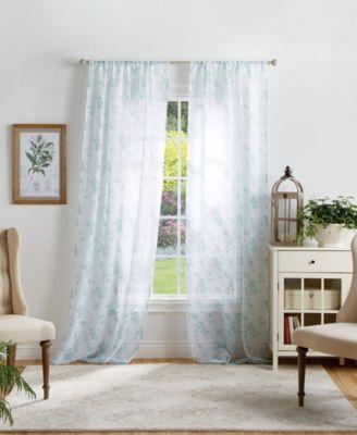 "Martha Stewart Bellefield Floral Sheer 50"" x 84"" Curtain Set"
