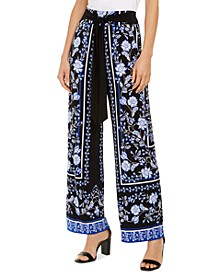 INC Petite Printed Tie-Waist Pants, Created for Macy's