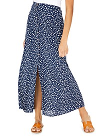 Juniors' Floral-Print Button-Front Maxi Skirt