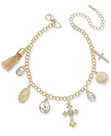 Gold-Tone Religious Charm Anklet, Created for Macy's