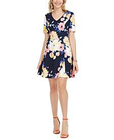 Petite Printed V-Neck Dress