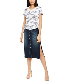 INC Toile-Printed Ruched-Side Top & Jean Skirt, Created for Macy's