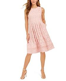 Petite Lace Fit & Flare Dress