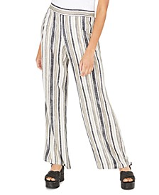 Juniors' Striped Wide-Leg Soft Pants