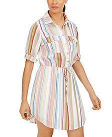 Juniors' Striped Drawstring Utility Shirtdress