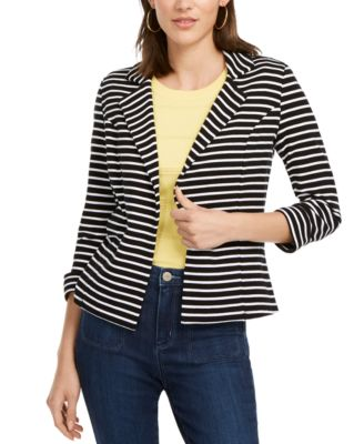 Maison Jules Women/'s Long Sleeves Two-Button Blazer Blue Small