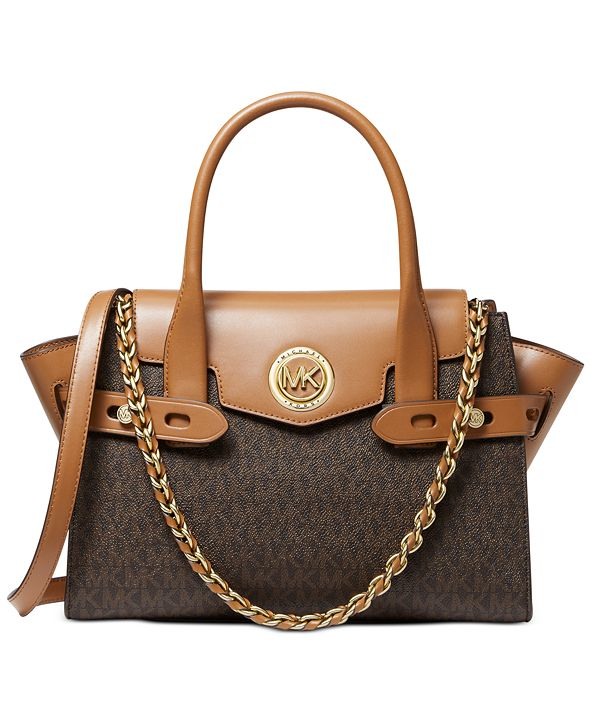 Michael Kors Signature Carmen Small Flap Belted Leather Satchel