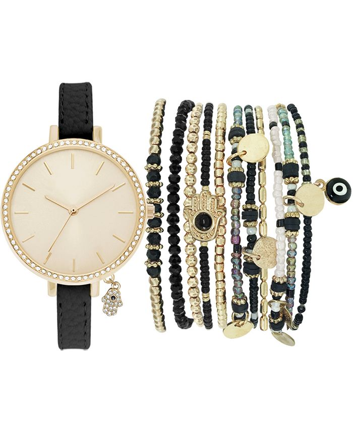 Jessica Carlyle - Women's Black Faux Leather Watch 34mm Gift Set