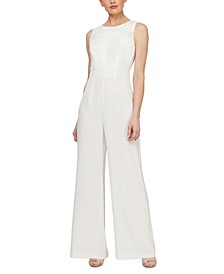 Sleeveless Eyelet-Trim Jumpsuit