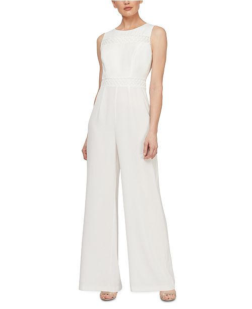 SL Fashions Sleeveless Eyelet-Trim Jumpsuit