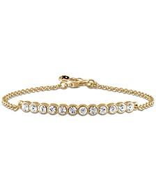 Gold-Tone Crystal Curved Bar Link Bracelet