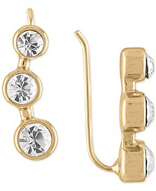 Gold-Tone Triple Crystal Climber Earrings