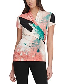 Marble-Print Ruched Top