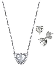 2-Pc. Set Cubic Zirconia Heart Pendant Necklace & Matching Stud Earrings in Sterling Silver, Created for Macy's