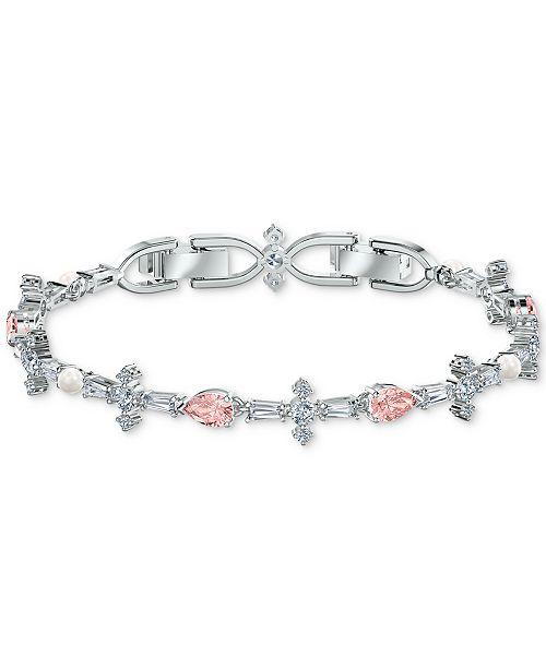 Silver Tone Crystal Link Bracelet