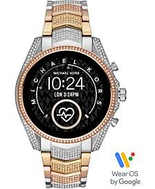 Access Unisex Gen 5 Bradshaw Tri-Tone Pavé Stainless Steel Bracelet Touchscreen Smart Watch 44mm