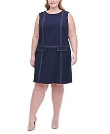 Plus Size Top-Stitch Scuba Crepe Dress