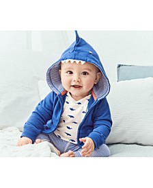 Baby Boys 3-Pc. Cotton Shark Hoodie, Bodysuit & Pants Set