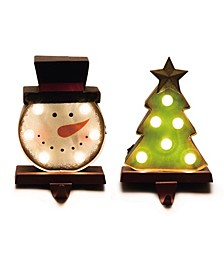 Marquee Led Snowman Head Tree Stocking Holder Set of 2