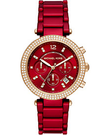 Michael Kors Women's Chronograph Parker Red Coated Stainless Steel Bracelet Watch 39mm