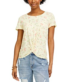 Juniors' Floral-Print Twisted T-Shirt