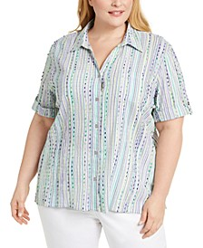 Plus Size Costa Rica Embroidered Striped Shirt