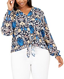 I.N.C. Plus Size Button-Up Floral-Print Top
