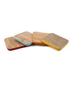CLOSEOUT! Set of 4 Square Multi-Color Wood Coasters
