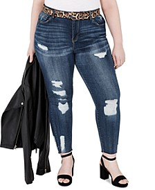 Trendy Plus Size Distressed Belted Skinny Jeans