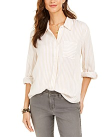 Petite Striped Roll-Tab Blouse, Created For Macy's