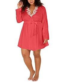 Plus Size Lace-Trim Wrap Robe