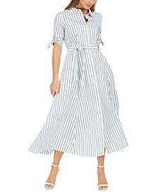 Cotton Striped Midi Shirtdress