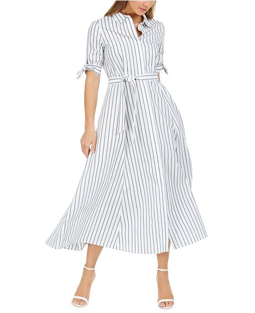 Calvin Klein Cotton Striped Midi Shirtdress