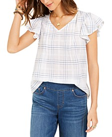 Petite Cotton Plaid Flutter-Sleeve Top, Created for Macy's