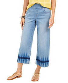 Style & Co Dyed Wide-Leg Cropped Jeans, Created for Macy's