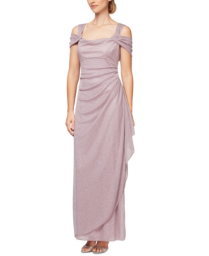 Alex Evenings Cold-shoulder Draped Metallic Gown In Mauve Pink
