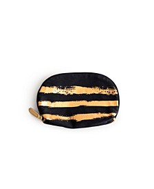 Imports Anything Goes Cosmetic Bag Stripe Gold Brush Stroke