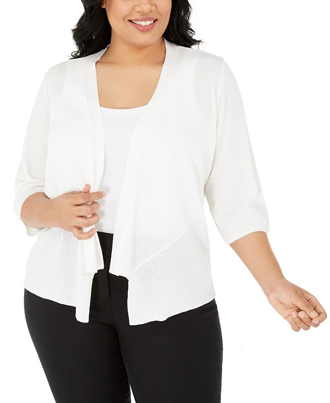 Alfani Plus Size Drape-Front Cardigan, Created for Macy's