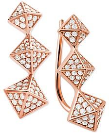Cubic Zirconia Triple-Pyramid Climber Earrings