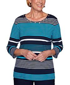 Petite Striped Grommet-Embellished Top