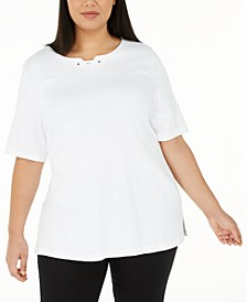 Plus Size Notched-Neck Cotton Top, Created for Macy's