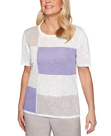 Alfred Dunner Nantucket Colorblocked Textured Crew-Neck Sweater
