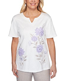 Nantucket Embroidered Textured Split-Neck Top