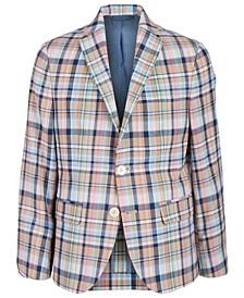 로렌 랄프로렌 보이즈 코트 Lauren Ralph Lauren Big Boys Slim-Fit Madras Plaid Sport Coat,Pink/Blue