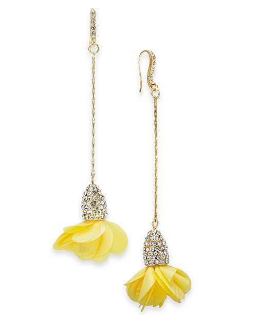 INC International Concepts INC Gold-Tone Crystal & Fabric Flower Drop Earrings, Created for Macy's