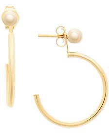 Hoop & Stud Front & Back Earrings in 14k Gold