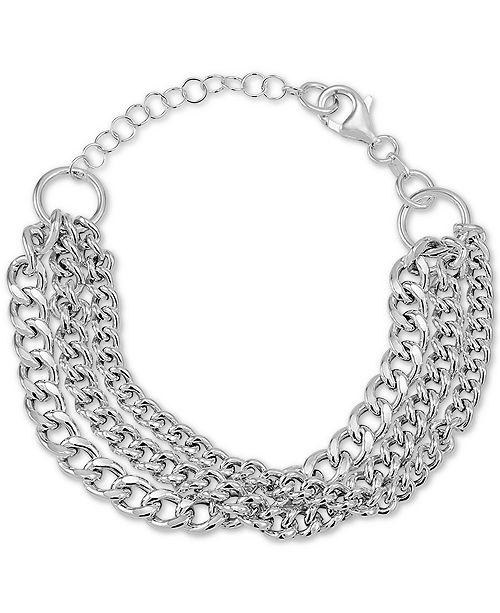 Macy's Multi-Row Curb Link Bracelet in Sterling Silver